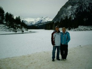 My baby bro and I in Lake Louise