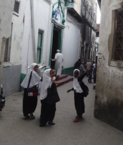 Some of the local girls in their school uniforms