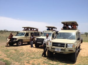 Our crew in the Land Rovers