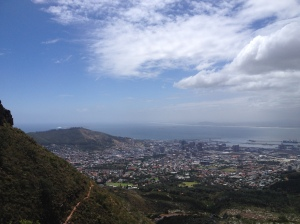 View of the city bowl on the way up Table Mountain.