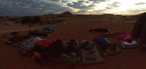 Waking up to a sunrise over the sand dunes.