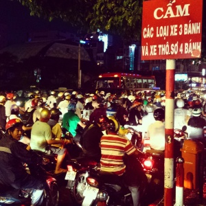 Cars are taxed 300% so everyone in Vietnam owns small motorbikes.