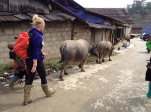 Strolling through a Sapa village.