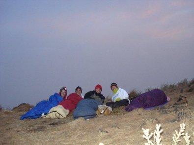 Sleeping under the stars on the mountain.